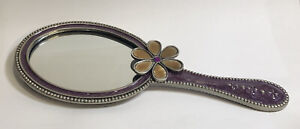 2¼×3½ Oval Hand Mirror Lavender Epoxy w/Lavender Mother of Pearl Accents