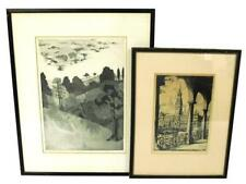 """Two framed prints: first is an aquatint landscape, ed. 2/25, signed """"... Lot 214"""