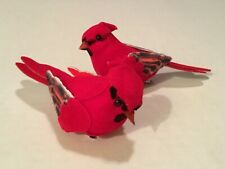 "2 ARTIFICIAL CARDINALS WITH CLIPS FOR WREATHS CRAFTS ETC. 4"" LONG!"