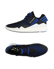 Y-3 Yohji Yamamoto Men's Retro Boost Sneakers Black Blue Leather Textile Sz 12.5