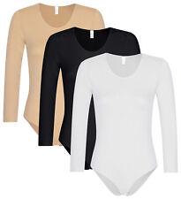 1 - 3 St. Damen langarm Body nahtlose Mikrofaser Sport Top Bodysuit Wäschebeutel