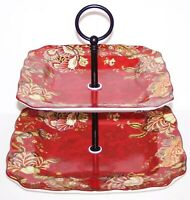 STUNNING 222 FIFTH FINE CHINA GABRIELLE RED 2-TIERED SERVING TRAY
