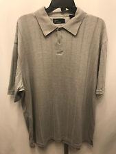 Men's Marc Edwards Gray Striped Short Sleeve Polo Shirt L Large B23