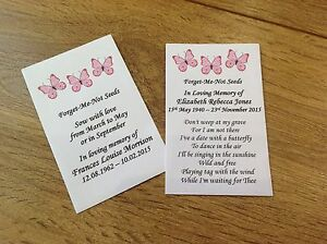 10 Personalised Forget Me Not Seeds Favours Funeral Memorial Butterfly Poem Pink