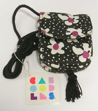 Caboodles Soft Siders Tiny Purse Make Up Bag Black w/White & Purple Flowers NEW