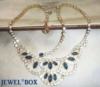 VINTAGE JEWELLERY Sparkling Sapphire Diamond Crystal Rhinestone Swag Necklace
