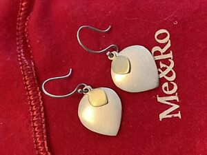 Me & Ro Silver and 10k Gold Double Lotus Drop Earrings