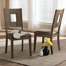 Baxton Studio Gillian Shabby Chic Dining Chair in Brown (Set of 2) NEW
