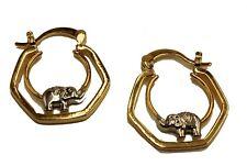 Elephant Hoops 18K Gold Plated Three Tone - Hoop Earring - Enchape de Oro