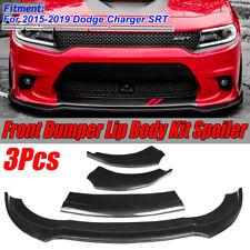 3X Carbon Fiber Style Front Bumper Lip Splitter For 2015-2019 Dodge Charger SRT
