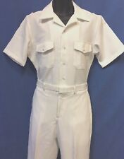 USN-NEW WHITE UNIFORM ( CNT-100% POLYESTER) SHIRT SIZE XL,PANTS 37R OR 38R