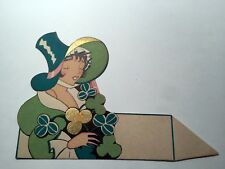 Vintage Bridge Game Tally Place Card -- Irish Lady in Green Bonnet w/ Clovers A