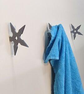 5X Ninja Shuriken Star Wall Hanger, Home Organizer, tool Coat Hook Rack towel