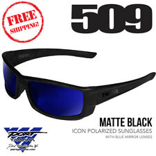 509 Icon Polarized Sunglasses Matte Black with Blue Mirror Lenses