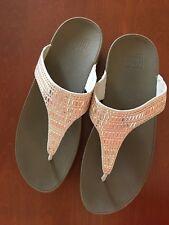 Fitflop Microfibre Incastone Toe Post Sandals Nude Size 9 US 7 UK