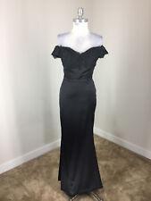 Black Satin Long Formal Gown Evening Dress S 2 4 Train Lace Back off shoulder