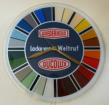 Reklame Wiederhold Ducolux Farbe Maler Werbung Wanduhr Uhr Glas 220 Volt um 1955