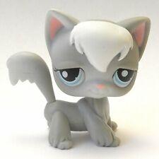 Littlest Pet Shop Authentic Lps #345 Gray White Angora Long Hair Cat Blue Eyes