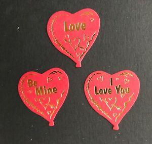 Valentine Red heart Balloon card Toppers 35mm x 30mm  pk10