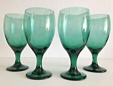 Vintage Set Of 4 Libbey Teardrop Juniper Green 16 Oz Glasses