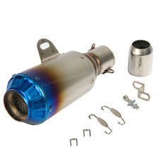 38-51 mm Motorcycle Exhaust Muffler Pipe Silencer Can Slip-On Grilled Blue Tip