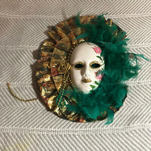 Green Feather Gold Ruffle Ceramic Decorative Venetian Style Wall Mask 10in