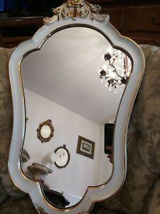 Barock Wandspiegel Gold Oval Spiegel Antik Rokoko Badspiegel Prunk Shabby Retro