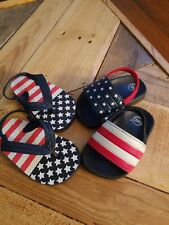 American Flag Independence Memorial Day Toddler Size 4/5 C Flip Flop Sandals.