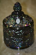 "Fenton Amethyst Carnival Grape & Leaf Covered Candy Dish 6 1/2"" 2005 10 years"