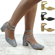 Para mujeres Zapatos Damas Correa en el Tobillo Hebilla de la Corte Redondeado T...