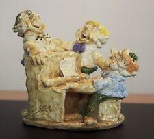 "Original 1979 Clay Sculpture 3-Men & Piano by Canadian Artist Patricia Flett 9"""