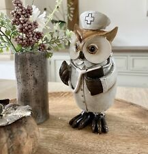 Carved Vintage Nurse Owl Figurine Sculpture Ornament Home Decoration Gift