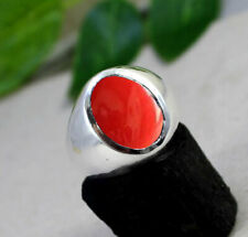 Red Coral Gemstone Solid 925 Sterling Silver Wedding Mens Ring Jewelry