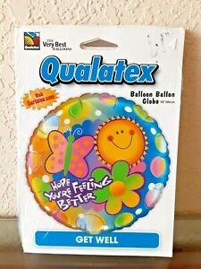 """QUALATEX 18"""" Foil Round Balloon Hope You're Feeling Better Get Well NEW"""