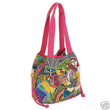 Laurel Burch Womans Spirit Earth Song Drawstring Blk White Brights Tote Bag New
