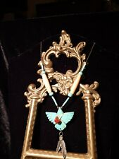 silver chain & Turquoise happy  Dream Catcher  Native American Necklace