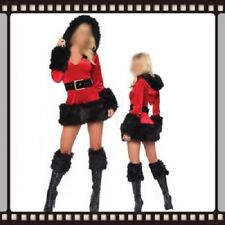 Christmas Party Costume Outfit Sexy Fancy Dress Black & Red Size  8 10