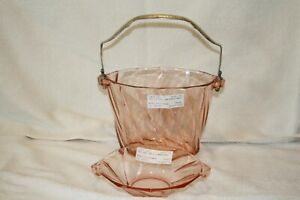"""Heisey Twist pink Handled Ice Bucket and 6"""" 2 Handled Mint Bowl"""