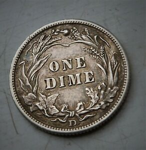 1909 D USA SILVER DIME ,VERY SCARCE, LOW MINTAGE , EF GRADE COIN (SEE PHOTOS)