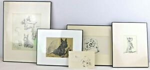 Lucy Dawson Mac Set of 5 Art Prints Dogs Vintage 1930's Sketch Drawing Framed