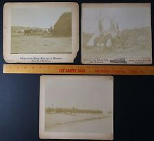 RARE - 4 Orig Photos - W R Cross - Crow Agency Indians 1870s Black Hills Montana