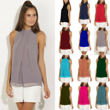 UK Womens Ladies Loose Beach Layered Tulle Vest Cami Chiffon Blouse Halter Tops