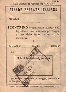 BIGLIETTO STRADE FERRATE ITALIANE - SCONTRINO VIAGGIO A SPESE DELLO STATO 1942