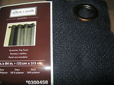 "Allen + Roth Black Onyx LOUDON Grommet Top Panel Drape Curtain 52x 84""L NEW"