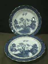 "(2)Lovely Antique Booths England""Real Old Willow Blue""Gold Trim Scalloped Plates"