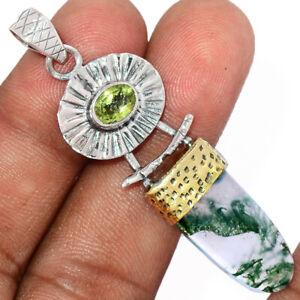 Two Tone - Moss Agate, India & Peridot 925 Silver Pendant Jewelry BP87841
