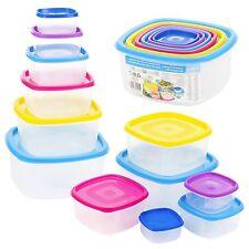 12 Piece Plastic Food Storage Containers Set Colour Lid Reusable Microwave Safe