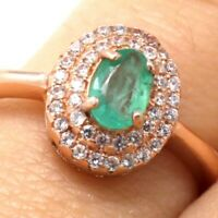 Gorgeous Natural Genuine Emerald Ring 24K Gold 925 Sterling Silver Cocktail