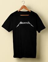 Helvetica Typography Metallica Humor Parody Tshirt shirt S M L XL 2X 3X 4X 5X