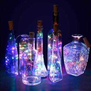 Copper Bottle String Lights Light 15 LED Warm Cool White Fairy Wine Cork Shaped